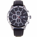 Seiko SKS571 SKS571P1 Chronograph Quartz Black Leather Strap Male Watch