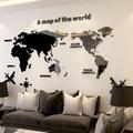 C【現貨下殺】3D立體壓克力墻貼 壓克力世界地圖壁貼 復古世界地圖 房間裝飾 家居裝飾佈置 客廳背景墻貼 居家佈置貼畫