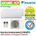 Daikin Dual Split Smile Series Aircon [System 2] Avaliable in MKS65QVMG [CTKS25 (1 HP) x 2] WITH *New Installation with Upgraded Materials Services*