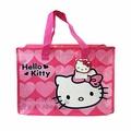 〔小禮堂〕Hello Kitty 大型購物袋《M.桃.大臉.愛心》棉被袋.衣物收納袋.環保袋