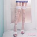 白色網襪 大網襪 性感蕾絲頭 彈性貼身大腿襪膝上襪 中大尺碼襪子-愛衣朵拉L086