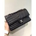 Chanel 小香 香奈兒 羊皮 V字紋 山形紋 COCO 2.55 黑色 銀鏈 25c
