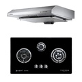 Fujioh Fujioh Recycling Exhaust Cooker Hood FS-890 RA R + Fujioh FG 3773 SVGL 3 Burner Glass Hob with safety valve - (CITYGAS)