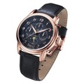 Arbutus Calendar Moon Phase Men's Black Leather Strap Watch AR703RBB