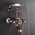 【批發零售】玫瑰金色浴缸龍頭木桶浴缸龍頭花灑套裝銅入墻式貴妃浴缸水龍頭