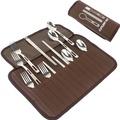 【點亮居家】戶外便攜餐具組 四人套裝 不鏽鋼餐具 旅行餐具 露營 野餐 筷子 湯匙 叉子 水果叉 收納包