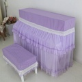Purple Piano Cover Piano Set Full Cover Lace Piano Stool Cover Pastoral Fabric Piano Dustproof Cover Play Not Take