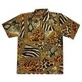 เสื้อวินเทจ เสื้อฮาวาย เสื้อสงกรานต์ ลายเสือ สีเหลือง ผ้านิ่ม