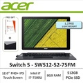"""Acer Switch 5 SW512-52-75FM 2-in-1 Laptop  i7-7500U 12.0"""" FHD+ 2160 x 1440 IPS 10-Finger Multi-Touch Display with Active Stylus support Windows 10 Home(64-bit) Intel HD Graphics 620 8GB DDR3 RAM, 512GB PCIe NVMe SSD"""