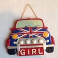 英國旗彩繪MlNl汽車女孩房掛牌丶廁所掛牌
