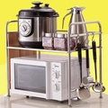 Kitchen Rack of Microwave Oven Stainless Steel 2 Layer Microwave Oven Shelf Double Layer Oven Racks Organizing Storage Rack