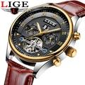 LIGE นาฬิกาผู้ชาย TOP Luxury ยี่ห้อกีฬาแฟชั่นอัตโนมัตินาฬิกาหนังกลไก