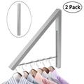 WINOMO 2 PCS Alumimum Wall Adjustable Clothes Hanger Rack Bracket for Laundry Organization Closet Storage System (Silver)