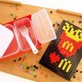 創意樂高DIY積木飯盒 長方形便當盒 可微波益智塑料餐盒