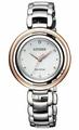 CITIZEN星辰錶 EM0668-83A L 光動能晶鑽圓環女錶/銀+玫瑰金 31mm