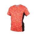 【MIZUNO】男路跑短袖T恤-短T T恤 慢跑 美津濃 橘紅黑