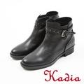 kadia.個性扣帶真皮短靴(7706-91黑)