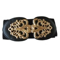 d96362f1ff2e3 Women Metallic Retro Flower Elastic Stretchy Dress Narrow Waist Belt Band