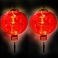 摩達客 農曆春節元宵-16吋植絨魚福紅燈籠(一組兩入)+LED50燈插電式燈串暖白光