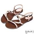 DIANA 簡約韓風--金屬S曲線細帶平底涼鞋–粉