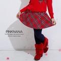 PINKNANA童裝 女童學院風紅色格紋短裙32121