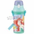 〔小禮堂〕迪士尼 小美人魚 日製直飲式水壺附背帶《綠.站姿》480ml.水瓶.兒童水壺