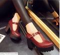 Pyf ♥ 學院風 圓頭粗高跟娃娃鞋T字扣帶 復古防水台 厚底女鞋43 大尺碼女鞋