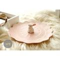 歐式色釉啞光浮雕蕾絲盤 可愛立體小兔子 陶瓷平盤 點心盤 飾品盤 裝飾盤 餐盤 禮物