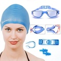 Swimming Goggles and Cap + Ear Plugs + Nose Clip + Goggle Case by Neptune Swim - intl