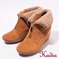 kadia.冬季時尚 舒適牛皮短靴(棕色)