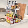 【ICR】加厚廚房不鏽鋼多層置物架(大空間/壁掛桌上兩用)