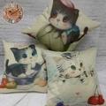 ~簡約時尚動物系列~可愛貓咪/棉麻抱枕/靠枕