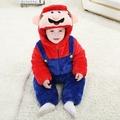 LionSniff新生兒法蘭絨嬰兒爬服 卡通造型超級瑪麗嬰兒服裝連體衣