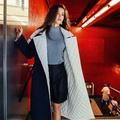 ~Love Fei 艾菲~〔100%實拍〕深藍中長款棉服外套寬鬆撞色腰帶大衣外套 S/M/L 預購款