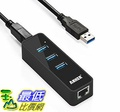 [106美國直購] Anker 3-Port USB 3.0 HUB with 10/100/1000 Gigabit Ethernet Converter-Black 集線器 充電器