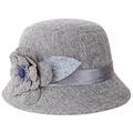 Bohemia Cap Women s Elegant Brim Summer Beach Flower Bowler Sun Hat  Billycock gray eca03b6c02b9