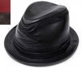 紐約的帽子紐約帽子 9204 羊皮 FEDORA lambaskin Fedora 黑色皮革熱皮革眼淚掉帽子大尺寸 XXL 大小男裝女裝中性 prast-inc