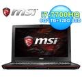 MSI微星 15.6吋筆電 i7-7700HQ/8G/128G SSD+1T/GTX1050Ti-2G  (GP62 7RE-611TW)