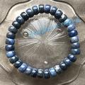{ 藍線石 } 藍線石石英、桶珠(鼓珠)、單圈--手珠 ★°石間宙宇☆‧:*‧
