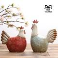 包郵創意歐式陶瓷雞客廳擺件可愛大號對雞家居裝飾工藝品復古禮品