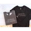 【瑞捲斯高雄店】A|X Armani Exchange女版珠珠亮字款logo大學t 圓領長袖T恤 灰色/黑色