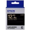 【EPSON】標籤機色帶 黑底金字/12mm(LK-4BKP)