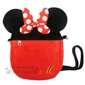 〔小禮堂〕迪士尼 米妮 絨毛造型斜背手機包《黑紅.耳朵.蝴蝶結》後方透明袋設計