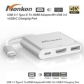 MONKON USB 3.1 Type-C To HDMI Adapter 4K+USB 3.0+USB-C Charging Port(PD Qucik charging)adapter cable for New Macbook/ Chromebook Pixel/Dell XPS13/Yoga 900/Lumia 950XL/USB-C devices To HDTV / Projector - intl