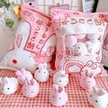 ins日本可爱小兔子零食抱枕创意仿真毛绒玩具网红少女心玩偶一大袋小鸡布丁 一袋子小兔抱枕 一大袋兔子布丁 均码