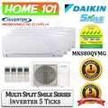 Daikin Multi Split Smile Series Aircon [System 4] Avaliable in MKS80QVMG [CTKS25 (1 HP) x 4] WITH *Replacement Services*