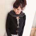 【JUST-LADY】短版可拆式連帽型圍巾外套 (黑)