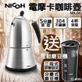 【送電動磨豆機/咖啡磨豆機】日本NICOH 電摩卡咖啡壺 MK-04 304不鏽鋼奶泡杯