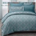 【韋恩寢具】精梳棉單人枕套床包組-圓弧藍