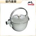 【Staub】圓型鑄鐵茶壺-灰色